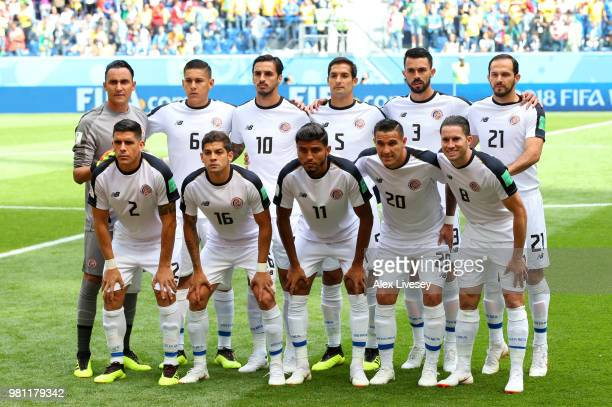 The Costa Rica players pose for a team photo prior to the 2018 FIFA World Cup Russia group E match between Brazil and Costa Rica at Saint Petersburg...