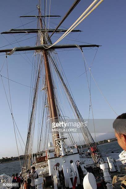 The Costa Rican media tours the Spanish school boat Juan Sebastian de Elcano on March 3 2008 at Puntarenas port o the Pacific coast 110 kilometer...
