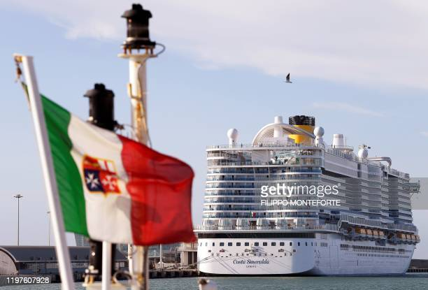 The Costa Smeralda cruise ship is docked at the Civitavecchia port 70km north of Rome on January 30 2020 More than 6000 tourists were under lockdown...