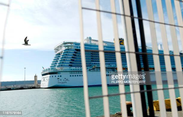The Costa Smeralda cruise ship is docked in the Civitavecchia port 70km north of Rome on January 30 2020 More than 6000 tourists were under lockdown...