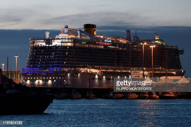 The Costa Smeralda cruise ship is docked in the Civitavecchia port 70km north of Rome on the evening of January 30 2020 More than 6000 tourists were...