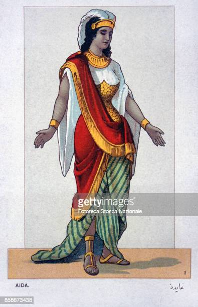 The costume for Aida the protagonist of the Opera by Giuseppe Verdi and Antonio Ghislanzoni From a series of 24 chromolitographs illustrating all the...