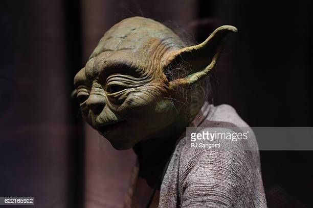 The costume of 900yearold Jedi Master Yoda is on display at the Star Wars and The Power of Costume exhibit at The Denver Art Museum November 10 2016...