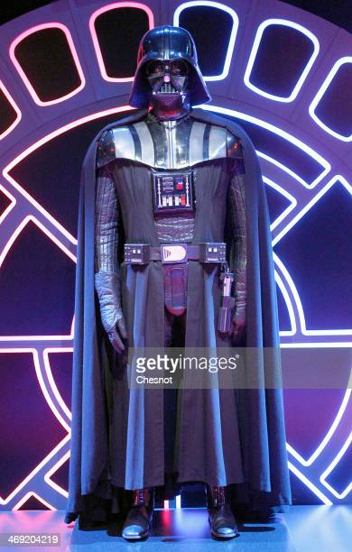 The costume of character Darth Vader from the Star Wars film series is displayed during the presentation of the exhibition Star Wars Identities at...