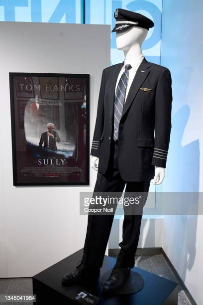 """The costume worn by Tom Hanks as Captain Chesley 'Sully' Sullenberger in the film """"Sully"""" on display at the Clint Eastwood: A Cinematic Legacy..."""