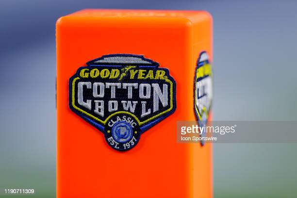 The Cotton Bowl Classic logo is displayed on an endzone pylon during the game between the Memphis Tigers and Penn State Nittany Lions on December 28...