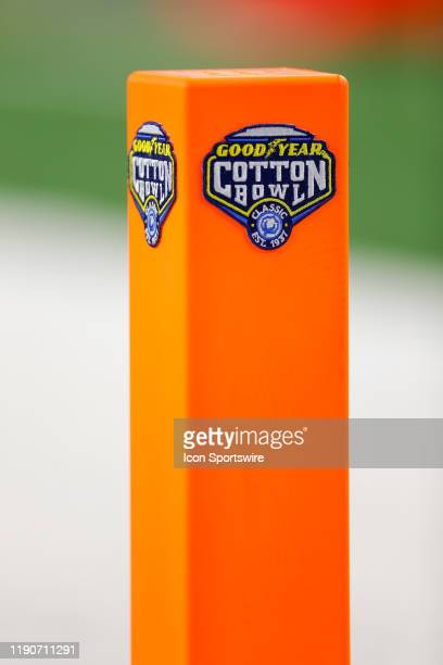 The Cotton Bowl Classic logo is displayed on the pylons during the game between the Memphis Tigers and Penn State Nittany Lions on December 28 2019...