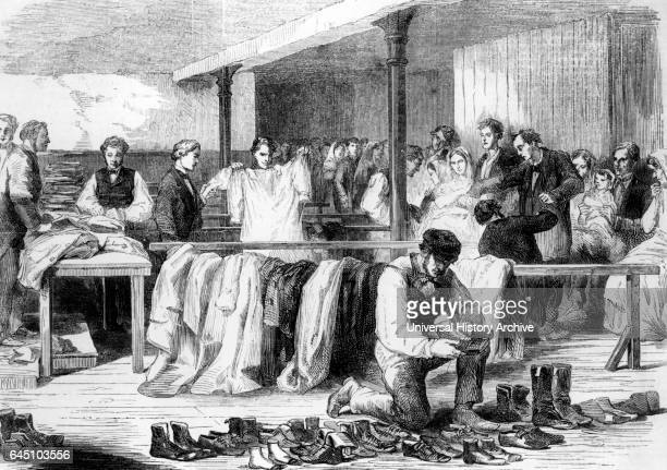 The Cotton Famine Gifts of clothing being collected at Bridwell Hospital London