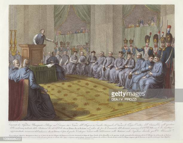 The Council of Bishops convened by Napoleon Bonaparte in Paris in June 1811 and invalidated by the Bishop of Troyes, coloured engraving, France, 19th...