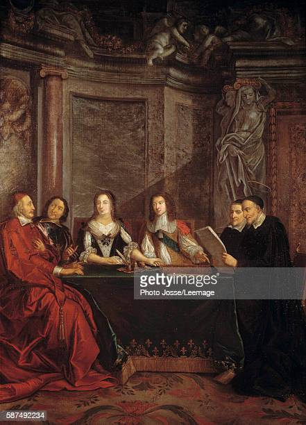 Saint Vincent de Paul head of the Council of Conscience reading in front of Cardinal Jules Mazarin Pierre Seguier Queen Anne of Austria and Louis XIV...