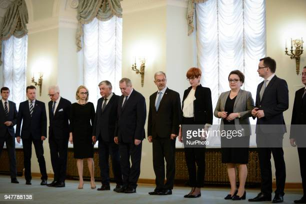 The Council of Ministers is seen lining up ahead of the installment of the new minister of digitization Marek Zagorski at the Presidential Palace in...