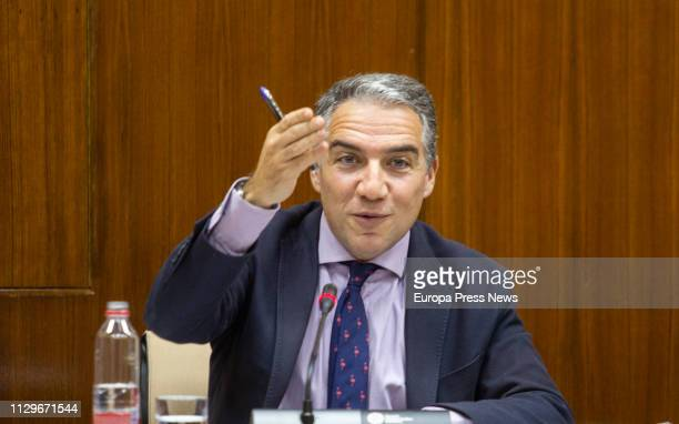 The counsellor of the Presidency Elias Bendodo appears before a parliamentary commission on February 14 2019 in Sevilla Spain