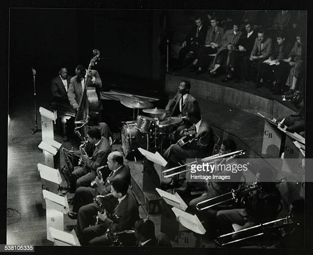 The Count Basie Orchestra in concert at Colston Hall Bristol 1957 Count Basie Eddie Jones Freddie Green and Sonny Payne The saxophonists are Eddie...