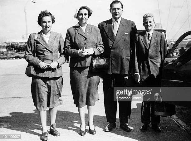 The count of Barcelona DON JUAN and his wife MARIA de la MERCEDES of BOURBON and their two children MARIA del PILAR of Spain and DON JUAN CARLOS King...
