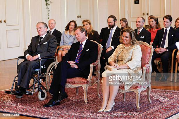 The Count Philippe de Lannoy , Grand-Duke Henri of Luxembourg and Grand-Duchess Maria Teresa of Luxembourg during the civil ceremony of the Wedding...