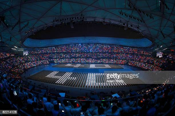The countdown begins during the Opening Ceremony for the 2008 Beijing Summer Olympics at the National Stadium on August 8 2008 in Beijing China