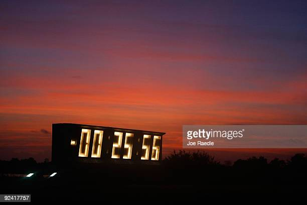 The countdown clock displays digits as NASA's Ares 1X rocket is prepared for a second attempt at launching from the Kennedy Space Center October 28...