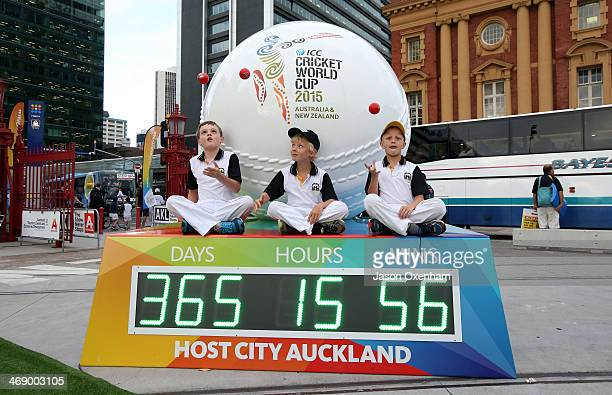 The countdown clock for the 2015 Cricket World Cup on February 13 2014 in Auckland New Zealand