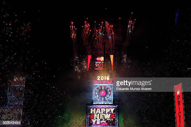 The countdown is seen on a display during celebrations at Times Square on January 1 2016 in New York City At least 6000 police officers were deployed...