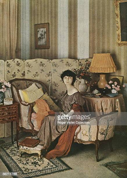 The countess Anna de Noailles French woman of letters in his lounge