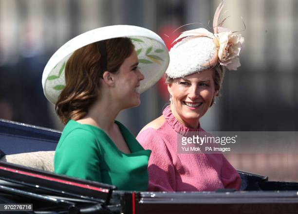 The Countess of Wessex and Princess Eugenie leave Buckingham Palace, central London on their way to Horse Guards Parade, ahead of the Trooping the...