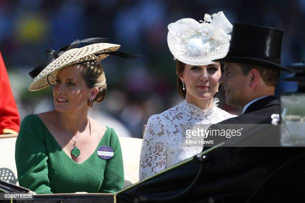 The Countess of Wessex and the Duchess of Cambridge arrive with Prince Edward for the opening day of Royal Ascot at Ascot Racecourse on June 20 2017...