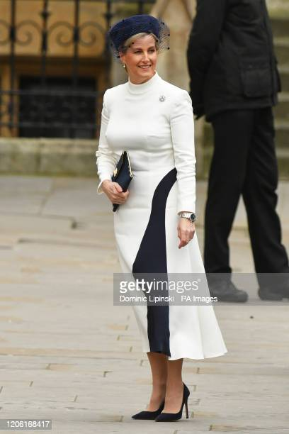The Countess of Wessex arrives at the Commonwealth Service at Westminster Abbey London on Commonwealth Day The service is the Duke and Duchess of...