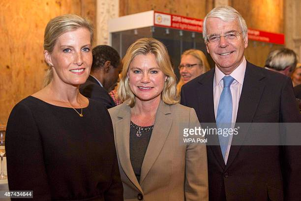 The Countess of Wessex International Development Secretary Justine Greening and former British Prime Minister Sir John Major at The Royal Society in...