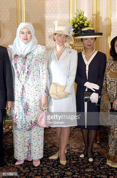The Countess Of Wessex [ Sophie Rhysjones ] With Her Majesty Tuanku Siti Aishah Visiting The National Palace Istana Negara In Kuala Lumpur Malaysia