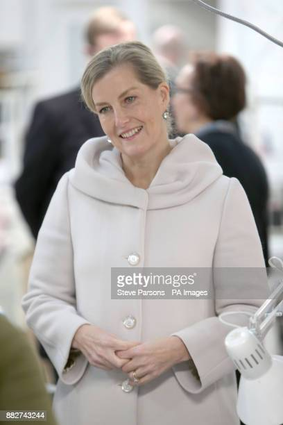 The Countess of Wessex talks to female offenders during a visit to the HMP Downview Prison and Young Offenders Institution in Sutton