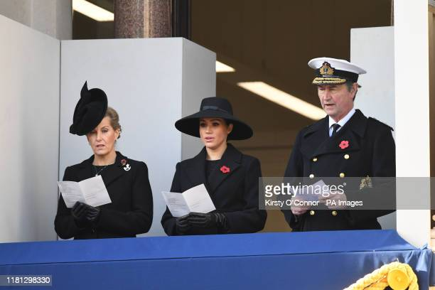 The Countess of Wessex the Duchess of Sussex and Vice Admiral Sir Timothy Laurence during the Remembrance Sunday service at the Cenotaph memorial in...