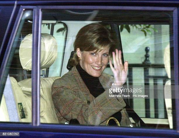 The Countess of Wessex waves from the back seat of the car as she is driven away from the King Edward VII Hospital in central London The 36yearold...