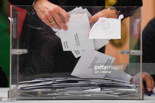 The counting of ballot papers gets underway in the Catalan Regional Parliament election at a polling station on December 21, 2017 in Barcelona Spain....
