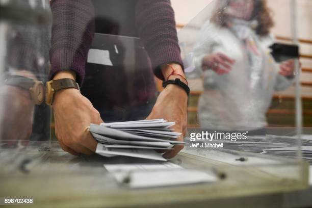 The counting of ballot papers gets underway in the Catalan Regional Parliament election at a polling station on December 21 2017 in Barcelona Spain...