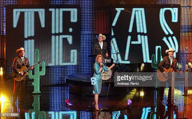 The country band 'Texas Lightning' with singer Jane Comerford perform on stage during a preview of the German elimination for the Eurovision Song...