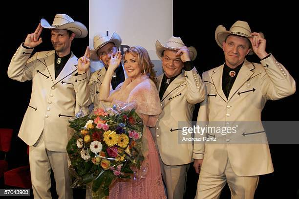 The country band Texas Lightning with singer Jane Comerford , who won the German elimination round for the Eurovision Song contest, pose during a...