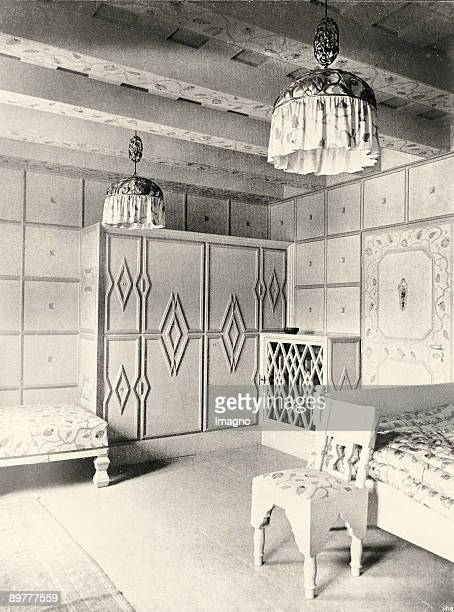 The country house Primavesi in Winkelsdorf created and built up by Josef Hoffmann in 1913 and 1914 Bedroom of the landlord decorated with the...