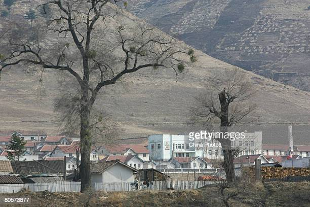The County of Chungganggun of North Korea is seen along the Yalu River on April 8 2008 in Linjiang of Jilin Province China Linjiang Linjiang is...