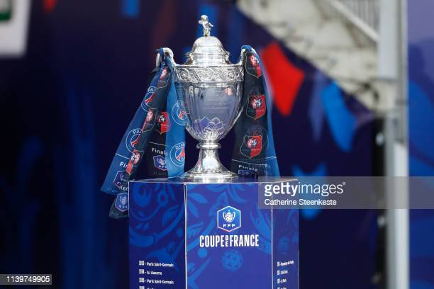 The Coupe de France Trophy is presented before the final match between Stade Rennais and Paris Saint-Germain at Stade de France on April 27, 2019 in...