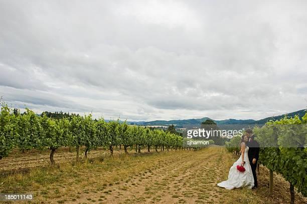 The Couple on a Wonderful Vineyard Scenery