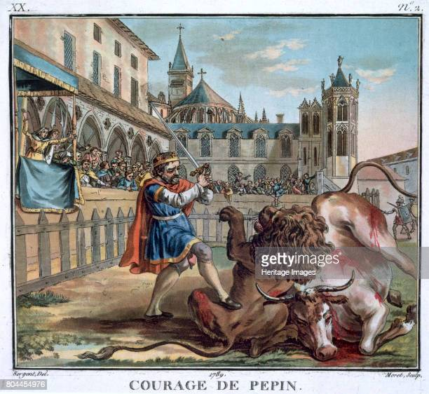 The Courage of Pepin' 1789 Pepin known as 'the Short' King of the Franks from 751 fighting a lion and a bull Pepin was the father of Charlemagne...
