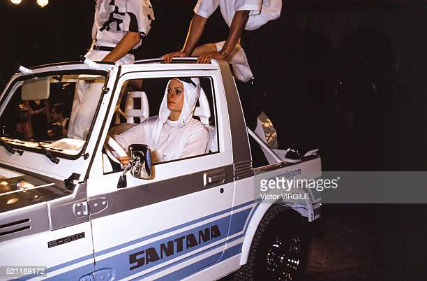 The Courreges party 'La Nuit' for the release of the Suzuki CourregesSantana S410 he designed on September 9 1986 in Paris France