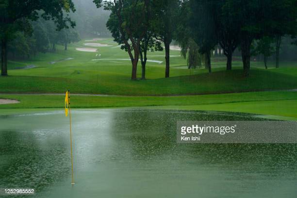 The course is inundated after the final round has been postponed during the final round of the Earth Mondamin Cup at the Camellia Hills Country Club...