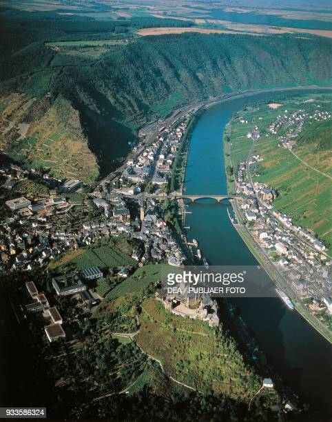 The course of the Mosel river aerial view Cochem Germany