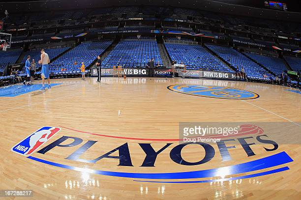 The court is ready for action as the Golden State Warriors prepare to face the Denver Nuggets during Game Two of the Western Conference Quarterfinals...