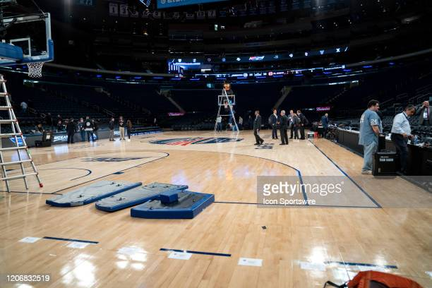 The court is taken apart after the cancelation of the Big East Mens Basketball Tournament is announced due to concerns over the Coronavirus disease...