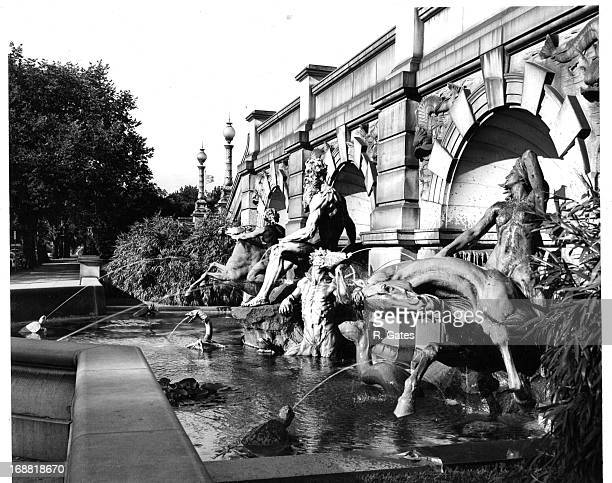 The Court of Neptune Fountain at Library Of Congress In Washington, DC, 1955.