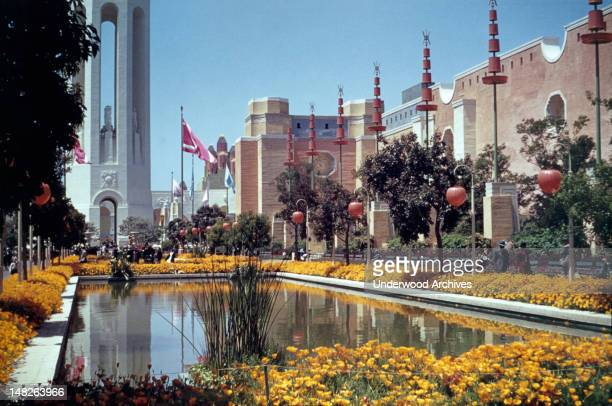 The Court of Reflections at the Golden Gate International Exposition held on Treasure Island in San Francisco Bay San Francisco California 1939