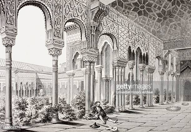 The Court Of The Lions Alhambra Palace Granada Spain As It Was In The 19Th Century From Les Artes Au Moyen Age Published Paris 1873