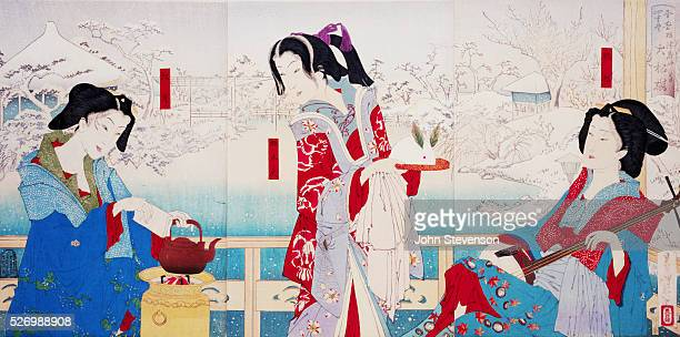 The courtesan Maboroshi Dayu Lady Phantom holds a snow rabbit Flanked by two attendants she stands in the garden of the Daishoro a high class brothel...